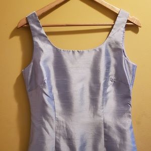 mid length powered blue Polyester dress